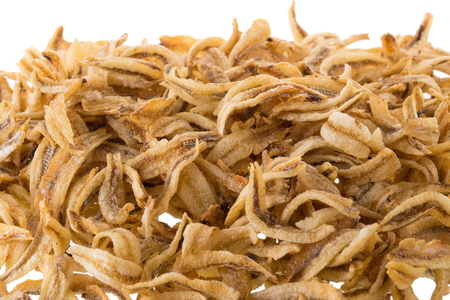sardine: Dried Small fish anchovies and crispy Seafood isolated on white background.