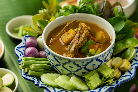 Fish organs spicy soup with bamboo shoots and vegetables Foto de archivo