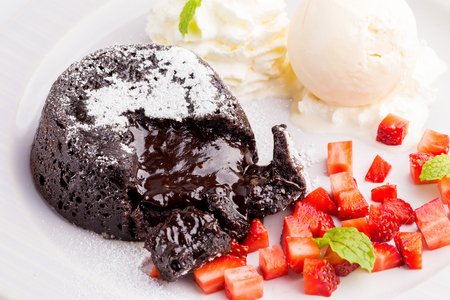 Lava Chocolate Cake with ice cream and mint.