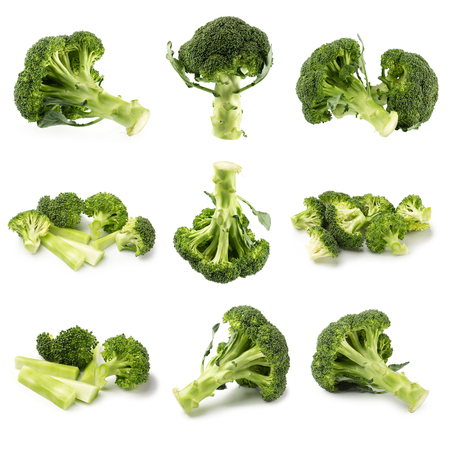 Healthy Green Organic Raw Broccoli Florets Ready for Cooking.