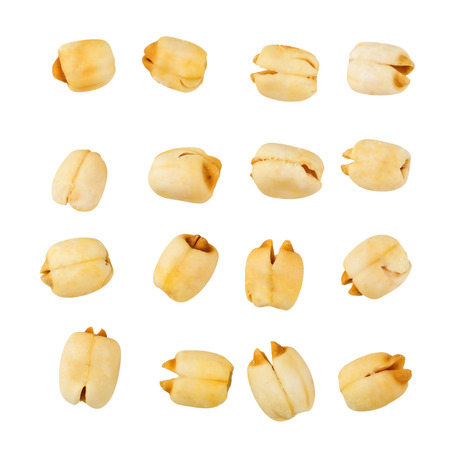 Dried lotus seeds isolated on a white background.