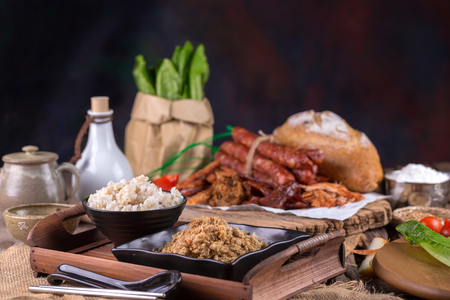 Dried shredded pork and mush, Chinese breakfast on Wooden Tray. Stock Photo
