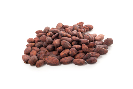 Cocoa fruit, raw cacao beans isolated on a white background. Stock Photo