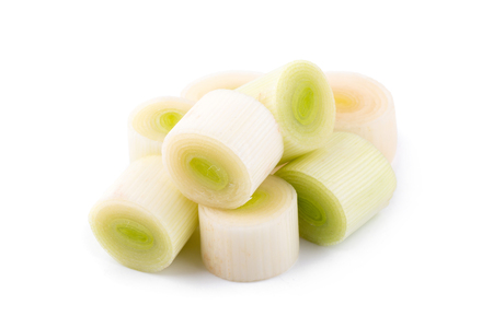 Fresh green leek chopped rings isolated on a white background. Stock Photo