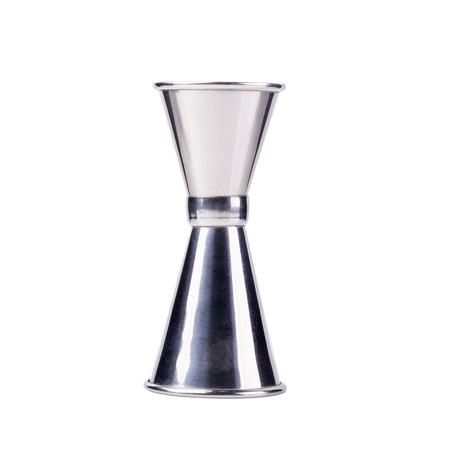 Stainless steel measurement cup for beverage and cooking isolated on a white background.