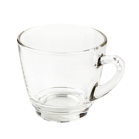 Empty glass cup of tea or coffee with handle isolated on white background.