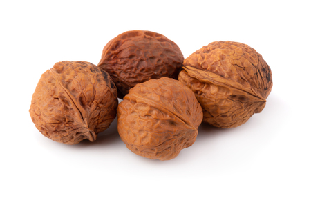 Dry Walnut isolated on a white background.