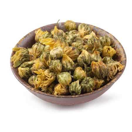 Dried chrysanthemum flowers isolated on white background.