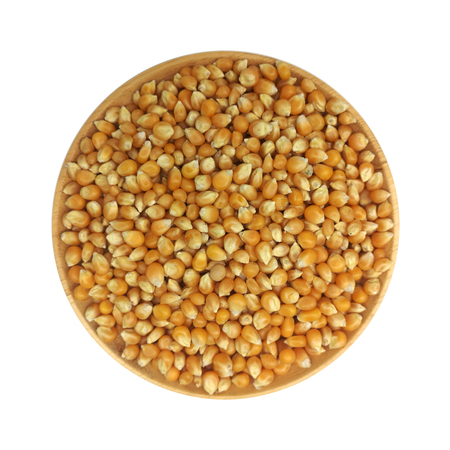 Dried corn kernels isolated​ on​ white​ background. Stock Photo