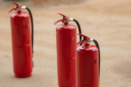 Fire protection equipment, Fire extinguisher on trolley, industry concept.