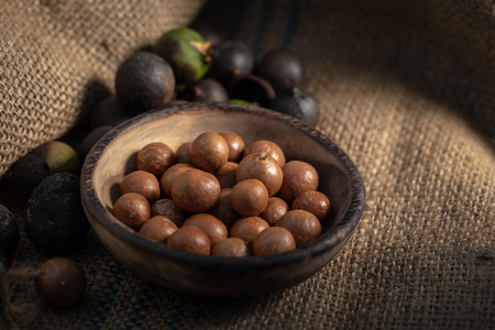 Macadamia nuts on sackcloth in dark light.