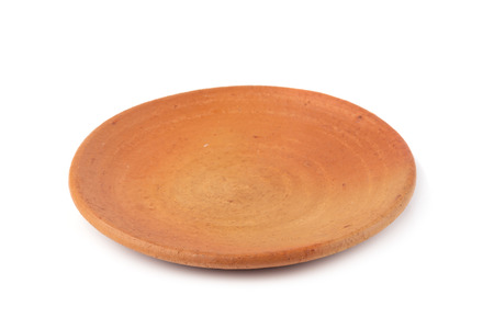 Pottery dish isolated on a white background.