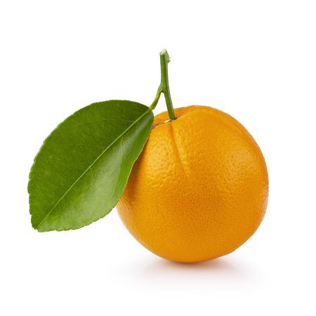 Orange fruit with orange leaves isolated on white background. With Clipping path. Stock Photo