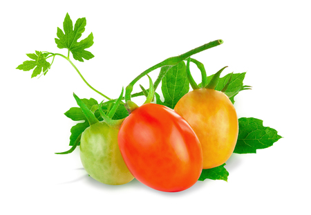 Fresh tomatoes with Green Leaf isolated on a white background.