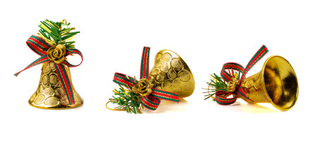 Golden Bell for Christmas Decoration isolated on white background.