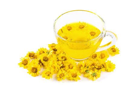 Yellow Chrysanthemum flowers health herbal tea isolated on white background.
