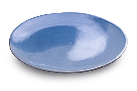 Empty blank ceramic dish isolated on white background