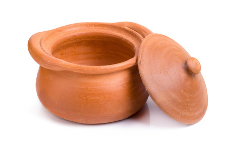 clay pot isolated on a white background.