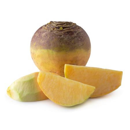 Fresh Turnip Swede isolated on white background. Archivio Fotografico