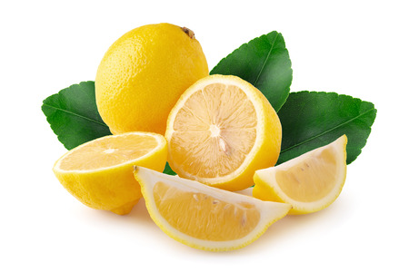Ripe slice of yellow lemon citrus fruit isolated on white background