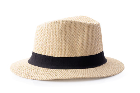 Vintage Straw hat with black ribbon for man isolated on white background. Stock Photo