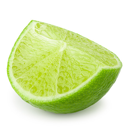 Half with slice of fresh green lime isolated over white background Imagens