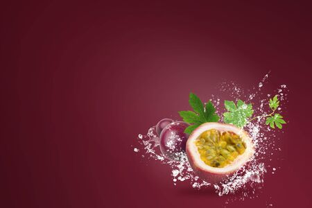 Water splashing on Fresh Passionfruit over red background.