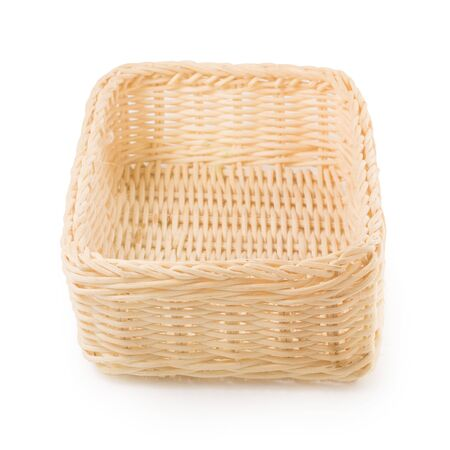 Empty Wicker baskets or bread basket isolated on a white background.