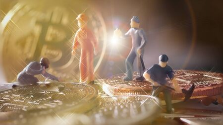 macro miner figures working on group of Bitcoin mining in deep golden cave. virtual cryptocurrency mining concept.