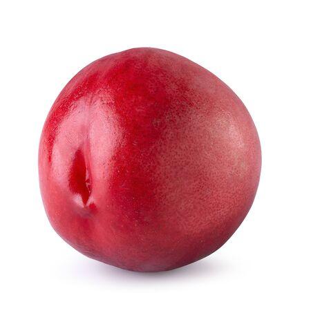 Ripe fresh Nectarine fruit isolated over white background.