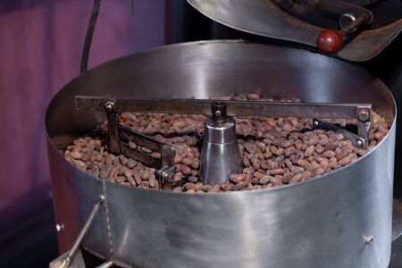 Worker roasting cocoa beans in a chocolate making factory.