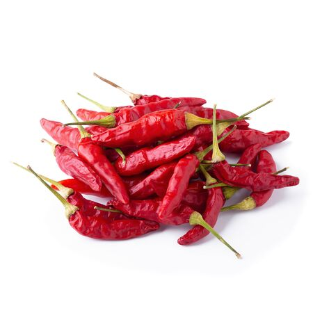 Dried red chili or chilli cayenne pepper isolated on white background. Stock fotó