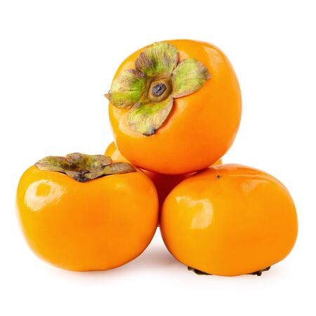 Fresh ripe persimmons isolated on white background Stockfoto