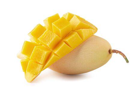 Mango fruit with mango cubes and slices Isolated over white background