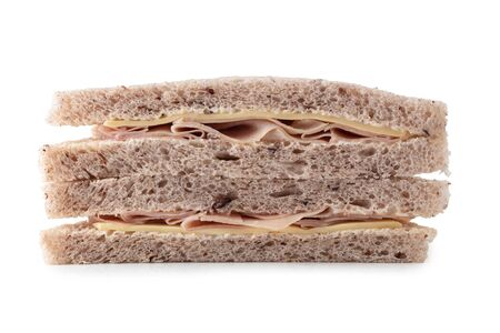 Sandwich with ham, cheese isolated on white background. Foto de archivo - 138104866