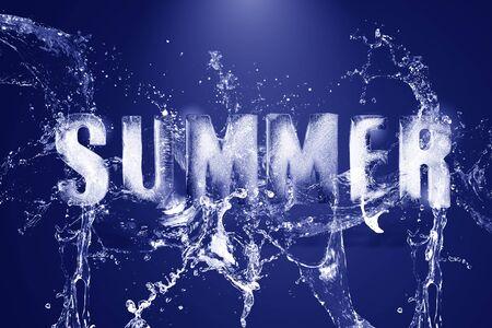Water splashing on frozen water in the shape of the alphabet, summer.