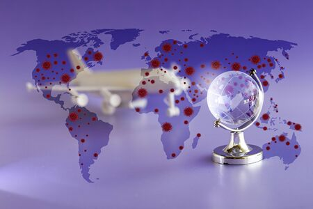 Covid-19 is spreading across the world, concepts of travel, Coronavirus - 2019-nCoV COVID-19, virus concept. 3D rendering. Reklamní fotografie