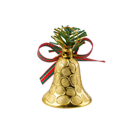 Golden Bell for Christmas Decoration isolated over white background   .