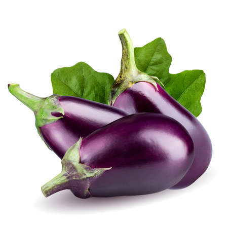 Fresh Eggplant isolated on white background with clipping path. Stock Photo