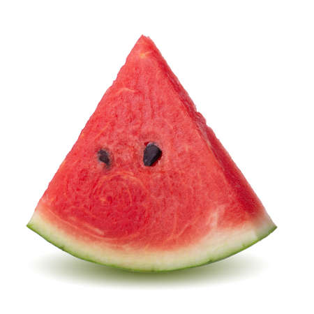Slice of ripe red watermelon slice isolated on a white background Imagens