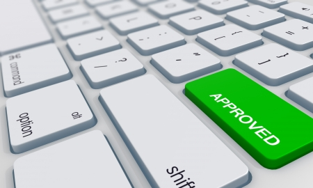 approved button: approved key on keyboard  Stock Photo