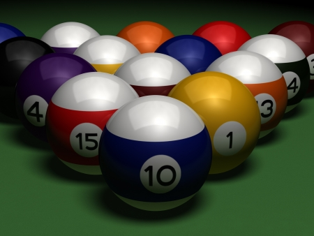 pool table: billiards on green table