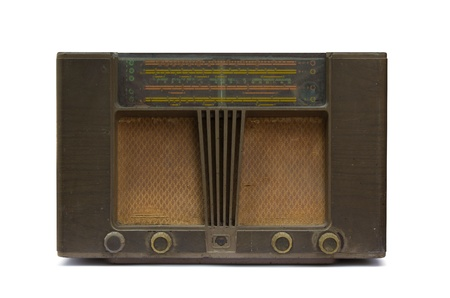 old  radio isolated on white background photo