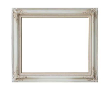 antique white frame isolated on white background  photo