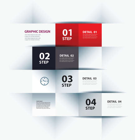 business step paper lines and numbers design template