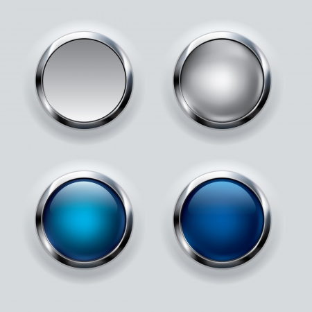chrome: Silver and blue button  Illustration