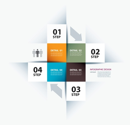 template: business step paper data and numbers design template Illustration