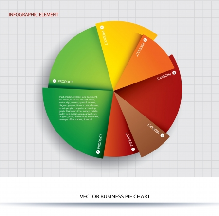 grafica de pastel: Negocios gráfico circular de papel Información de gráficos para los documentos e informes