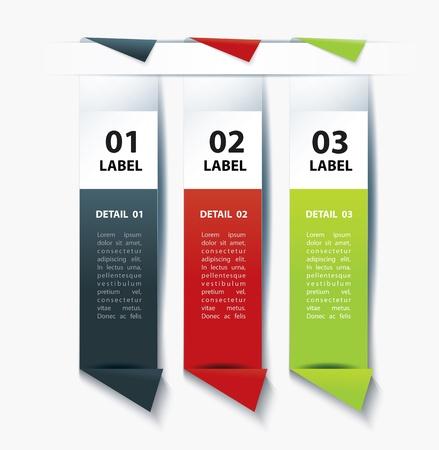 corner tab: Set of Colorful label paper tags  Illustration