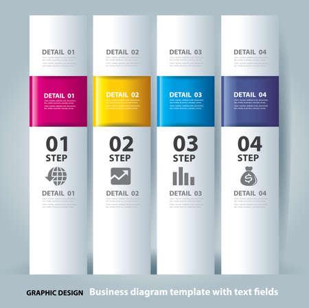 디자인: 사업 단계 종이 차트와 숫자 배너 디자인 템플릿